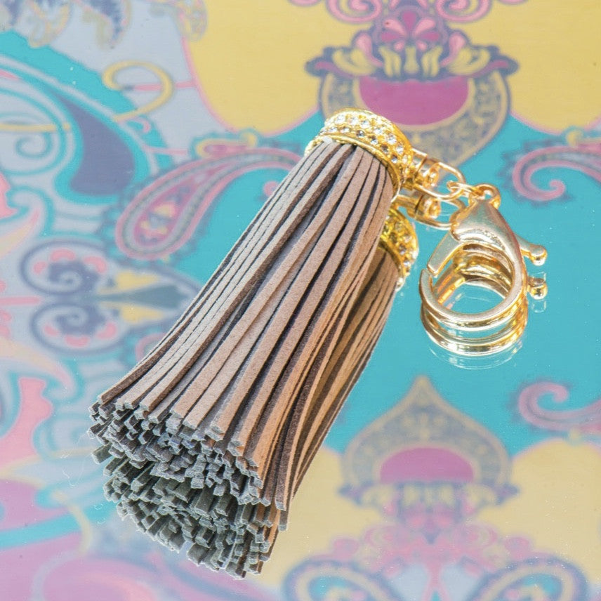 Powder Jewelled Tassle Keychain - Slate