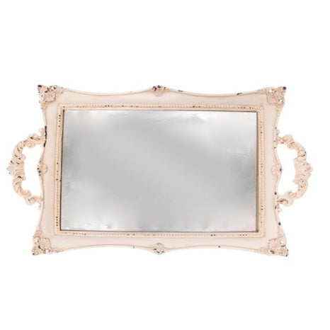 Small Cream Mirrored Vanity Tray -  Tray - RJB Stone - Putti Fine Furnishings Toronto Canada