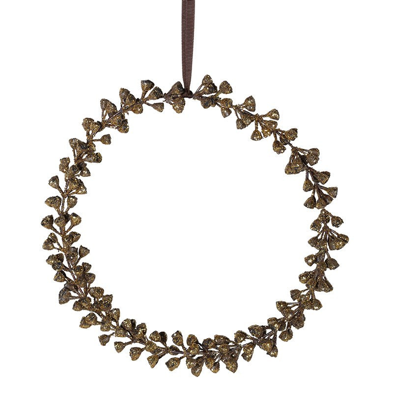 Gold Glittered Hanging Eucalyptus Wreath - 9""