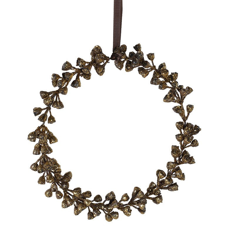Gold Glittered Hanging Eucalyptus Wreath - 7""