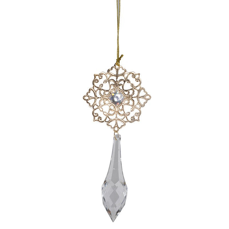 Gold Filigree Ornament with Crystal Drop
