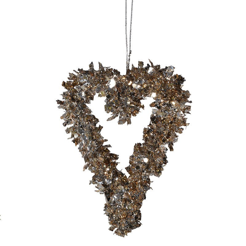 Champagne Tinsel Heart