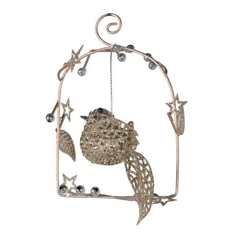 Gold Bird Perch Ornament