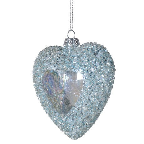 Heart With Ice Blue Beaded Glitter Sides