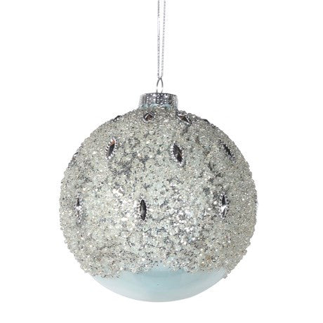 Glacial Bauble With Beaded Glitter Top