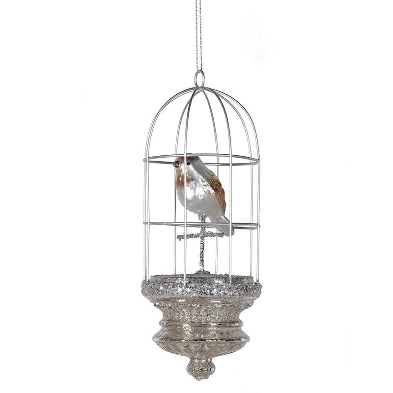 Silver Bird Cage Ornament