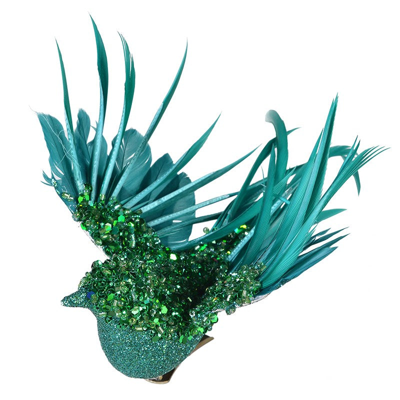 Green Beaded Aqua Feather Clip on Bird