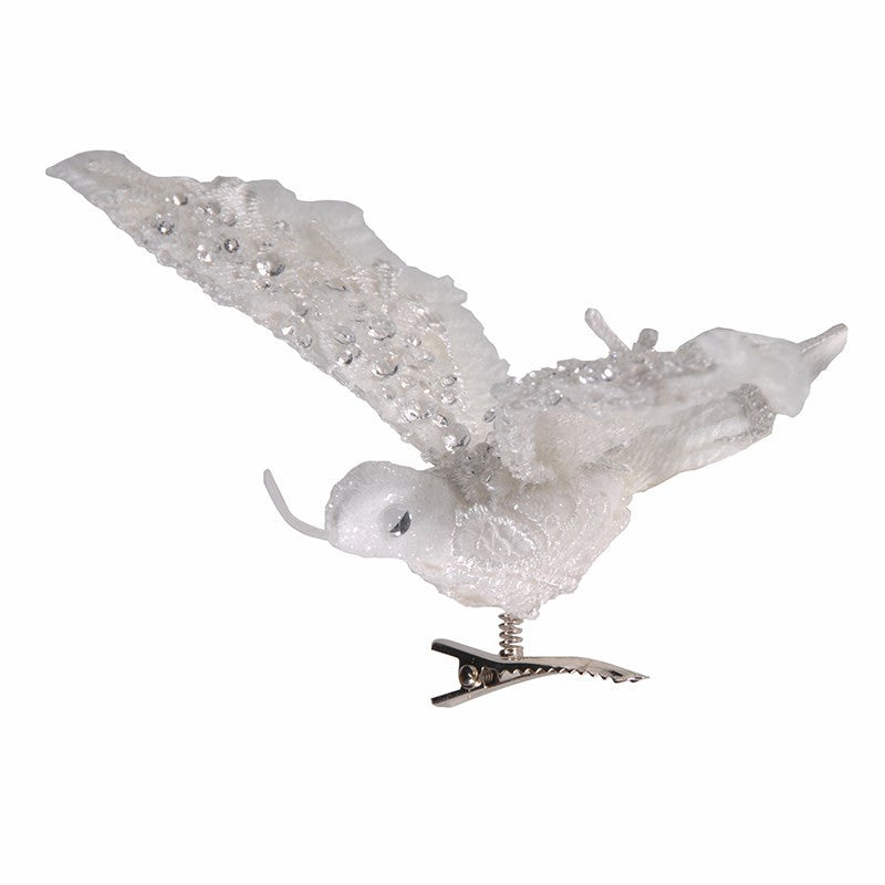 White Lace & Crystal Hummingbird With Clip