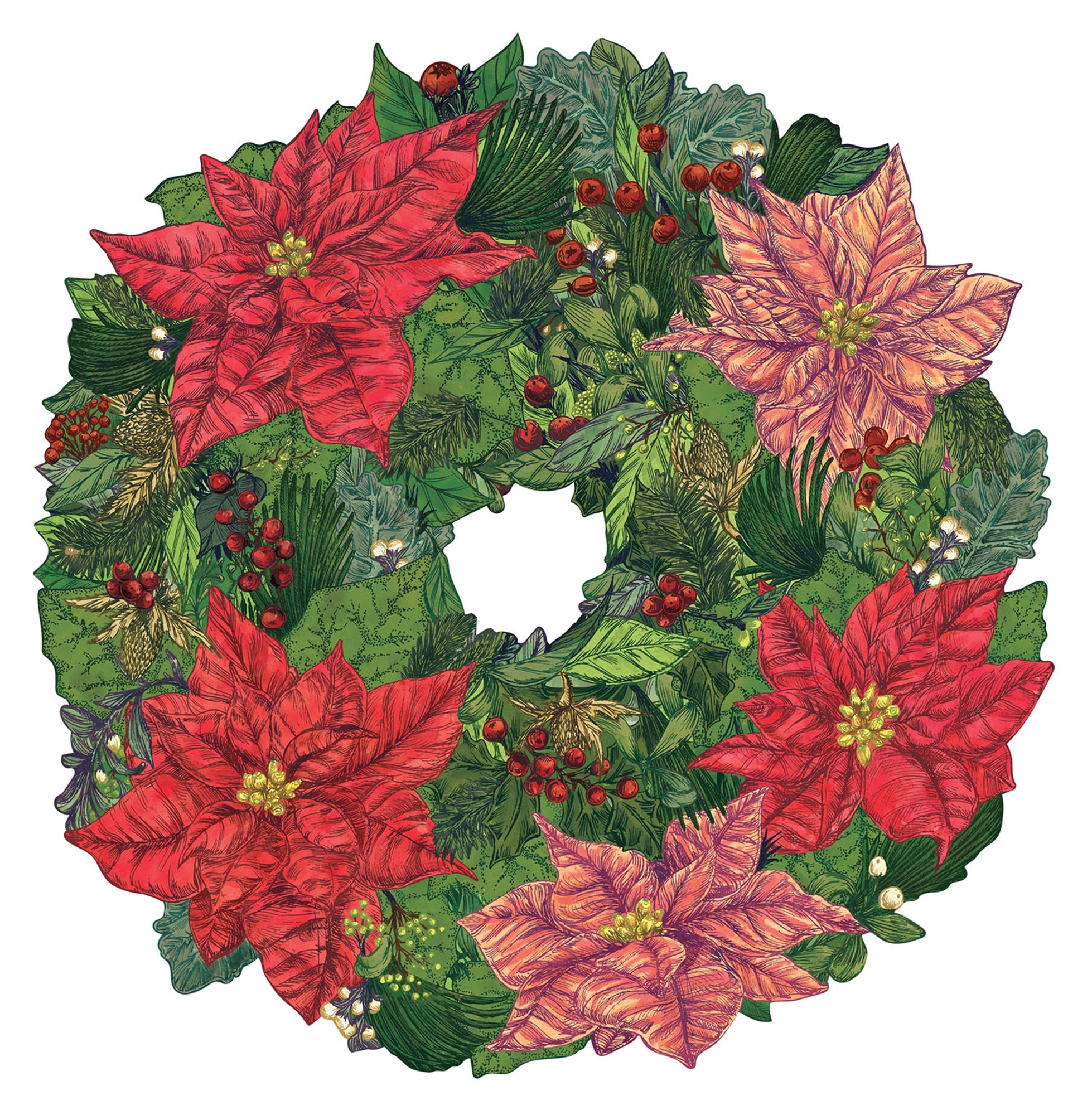 Hester & Cook Poinsettia Wreath Die Cut Paper Placemats