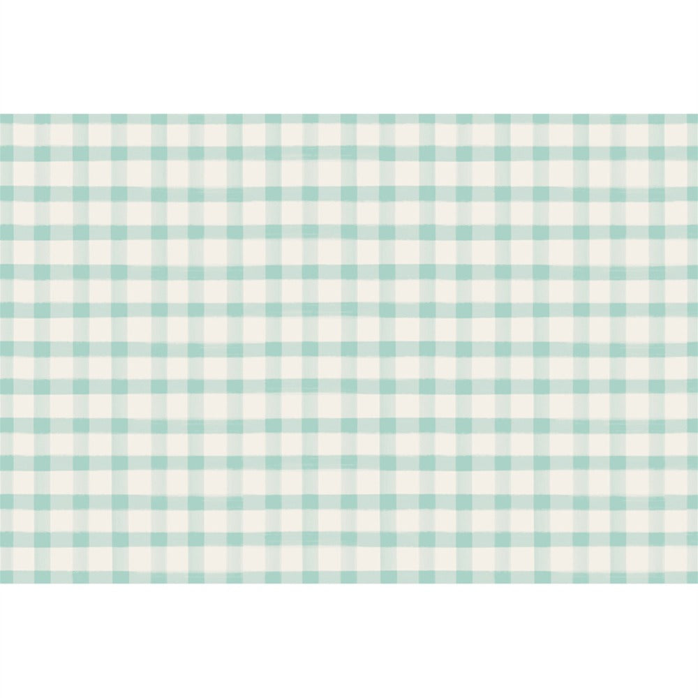 Hester & Cook Seafoam Painted Check Paper Placemats