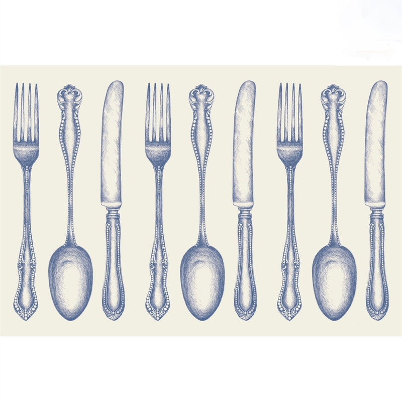 Hester & Cook Vintage Blue Cutlery Paper Placemats