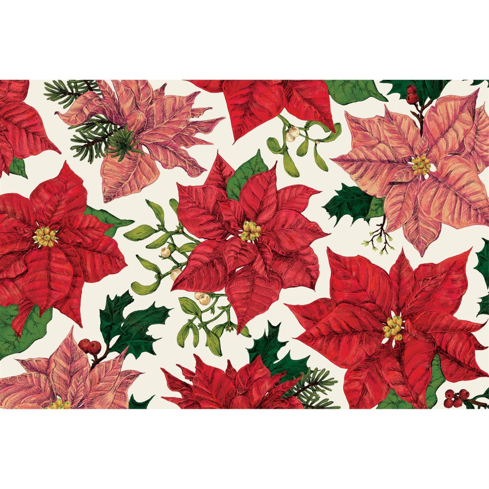 Hester & Cook Festive Poinsettia Paper Placemats