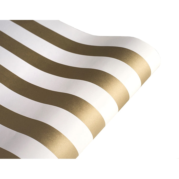 Hester & Cook Classic Stripe Paper Table Runner -Gold & White