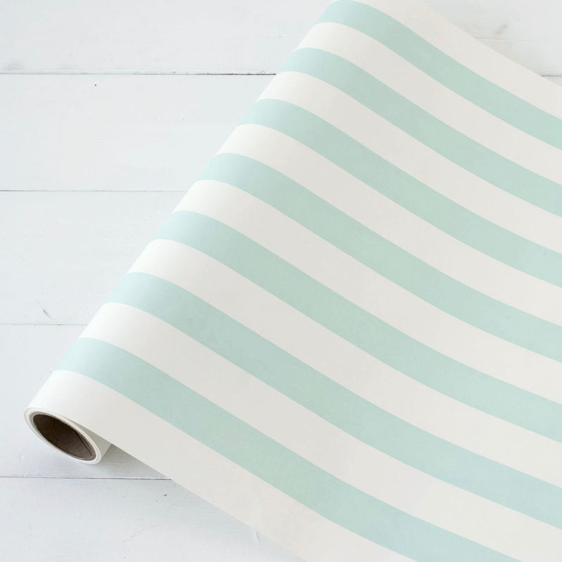 Hester & Cook Classic Stripe Paper Table Runner - Seafoam Blue