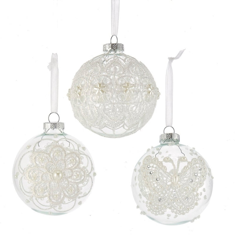 Kurt Adler Clear with White Lace Glass Ball Ornaments - 6 Piece Box Set | Putti