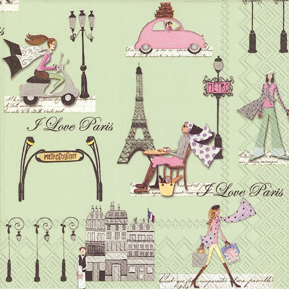 Lunch Paper Napkin - J'aime Paris, IHR-Ideal Home Range - Carsim, Putti Fine Furnishings