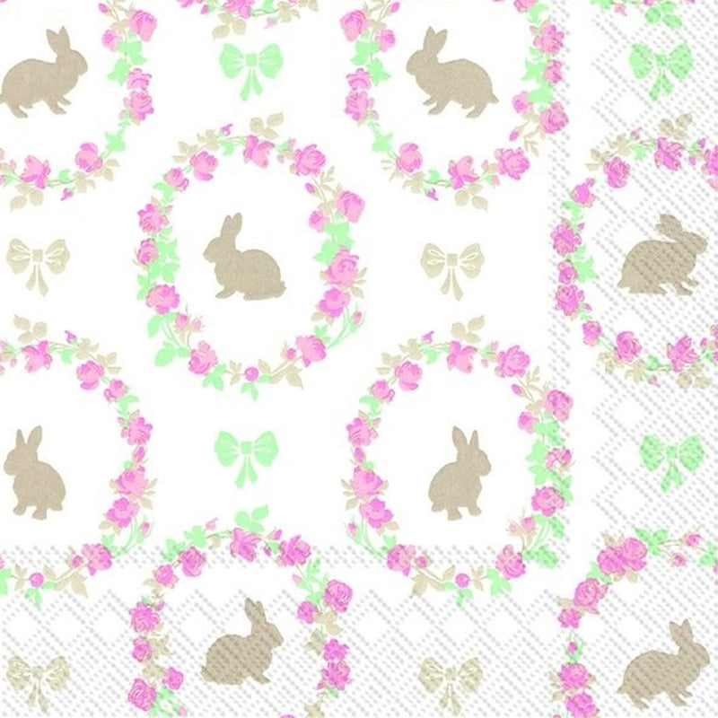 Lovely Little Roses Bunny Paper Napkin | Putti Easter Celebrations