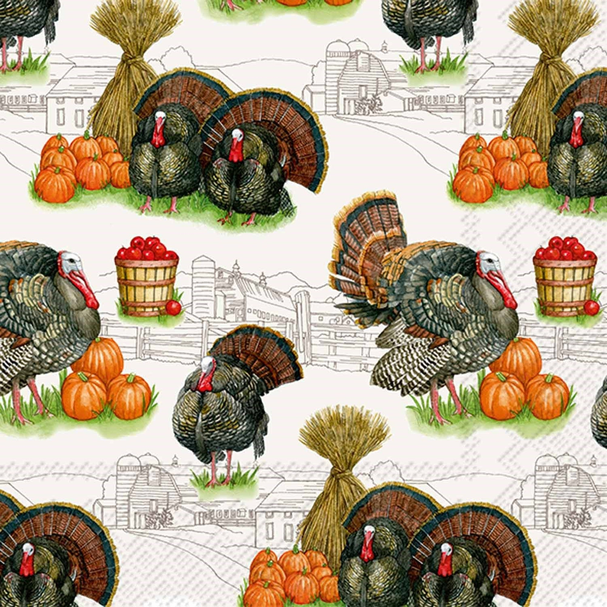 Harvest Turkey Paper Napkin - Lunch | Putti Celebrations Canada
