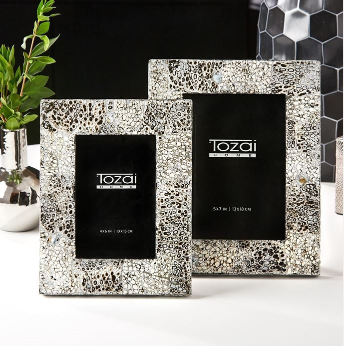 "Tozai ""Tessera Black & Silver"" Crackle Photo Frames"