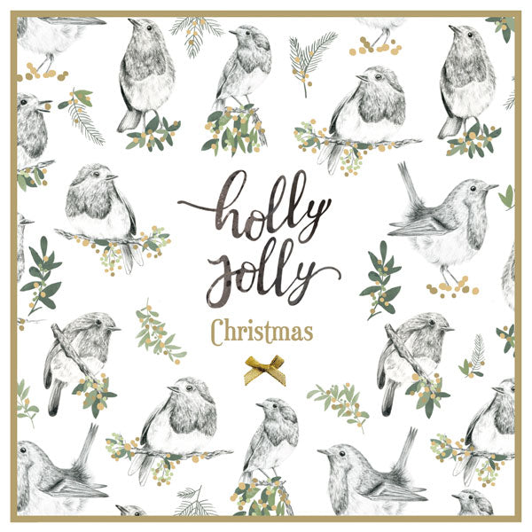 """Holly Jolly Christmas"" Birds with Mistletoe Boxed Greeting Card"