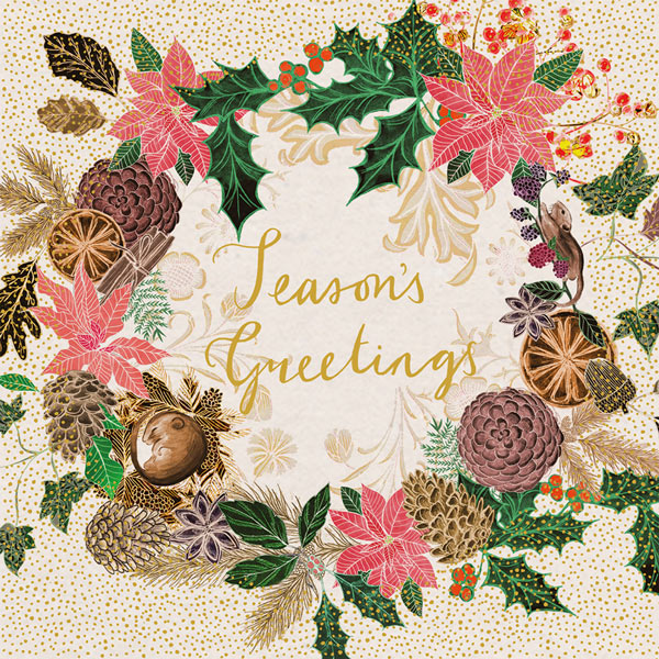 """Season's Greetings"" Wreath Boxed Christmas Cards 
