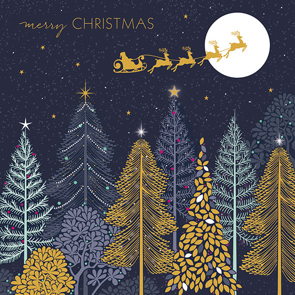 "Sara Miller ""Santa's Sleigh & Trees"" Boxed Christmas Cards 