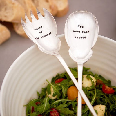 """Queen of the kitchen / You have been served"" Vintage Salad Servers, LDD-La De Da Living, Putti Fine Furnishings"
