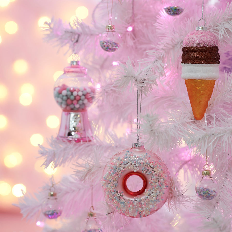 Pink Gumball Machine Glass Ornament