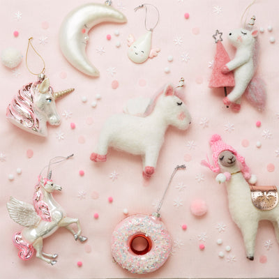 Flying Unicorn Glass Ornament | Putti Christmas Decorations Canada