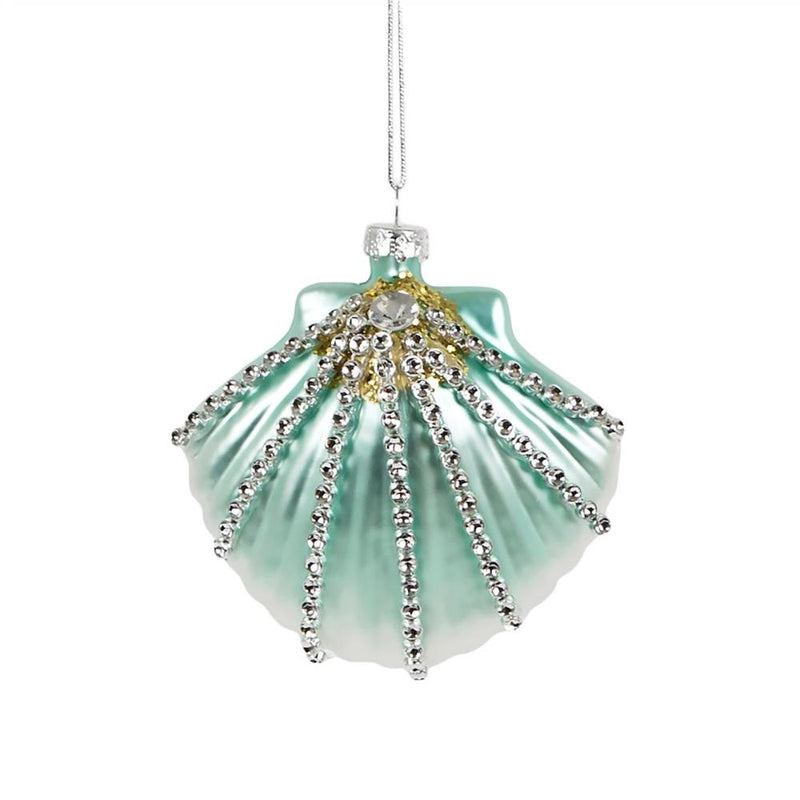 Underwater Treasures Jewelled  Shell Glass Ornament  | Putti Christmas Decorations Canada