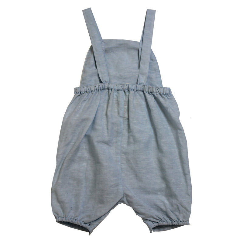 """Vintage Baby"" Powder Blue Linen Dungarees"