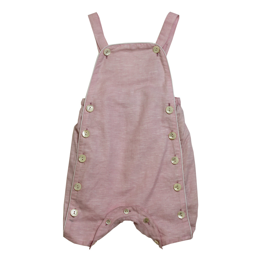 """Vintage Baby"" Powder Pink Linen Dungarees"