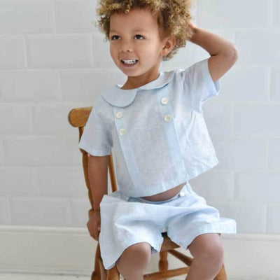 """Vintage Baby"" Powder Blue Linen Shorts and Top"