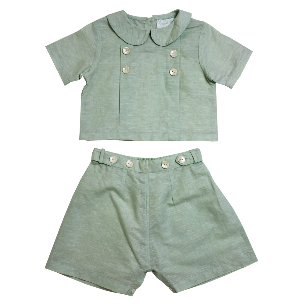 """Vintage Baby"" Pastel Mint Linen Shorts and Top"