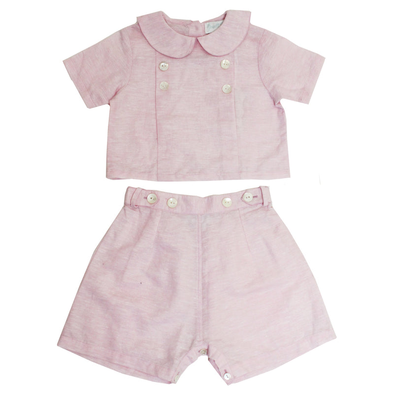 """Vintage Baby"" Powder Pink Linen Shorts and Top"