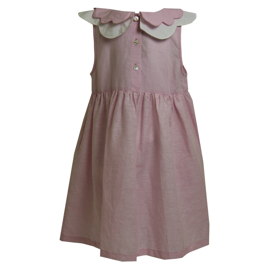 """Vintage Baby"" Powder Pink Linen Dress"