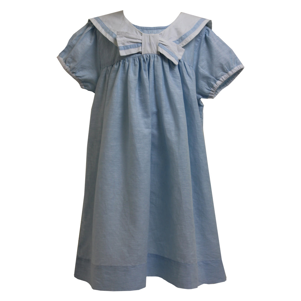 """Vintage Baby"" Powder Blue Linen Sailor Dress"