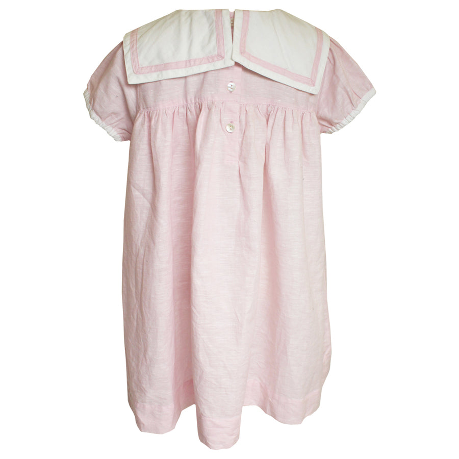 """Vintage Baby"" Powder Pink Linen Sailor Dress"