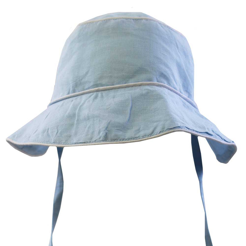 """Vintage Baby"" Powder Blue Linen Hat"