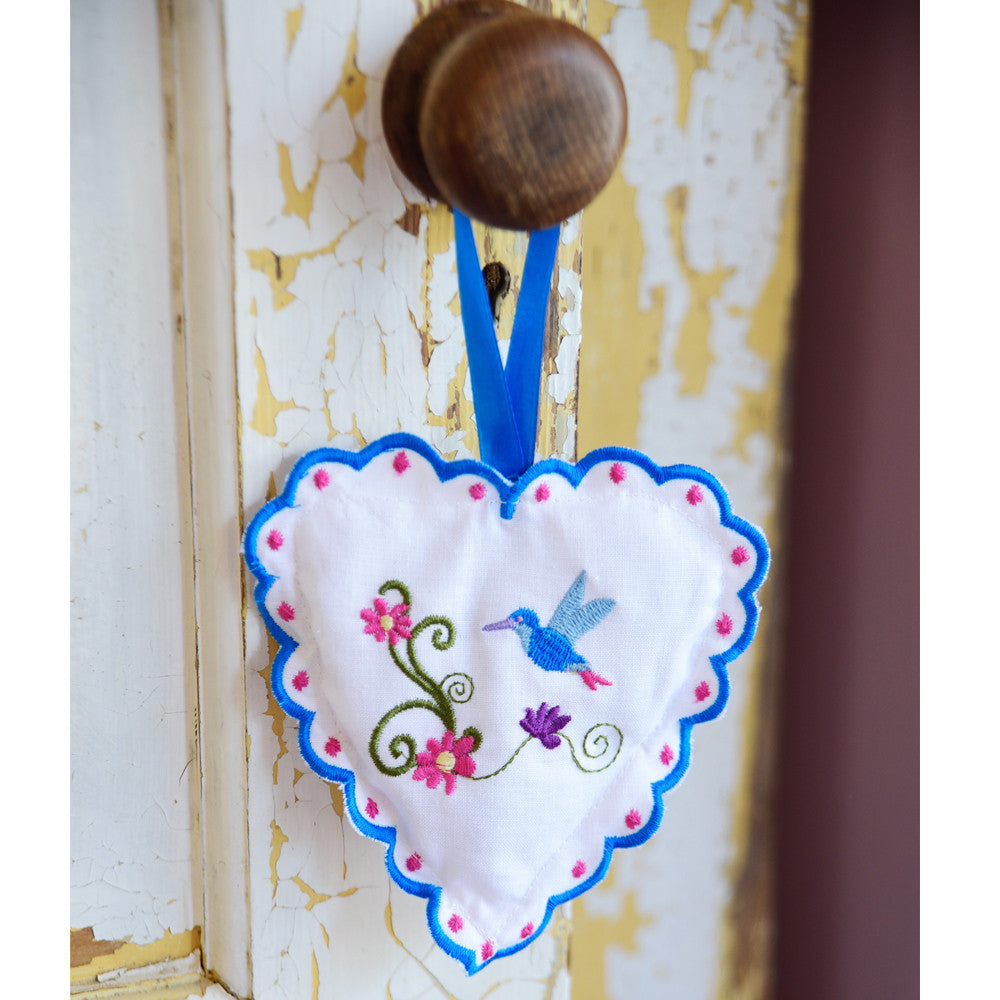 Hummingbird Embroidered Lavender Heart Sachet-Home Fragrance-PC-Powell Craft Uk-Putti Fine Furnishings