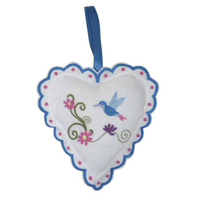 Hummingbird Embroidered Lavender Heart Sachet, PC-Powell Craft Uk, Putti Fine Furnishings
