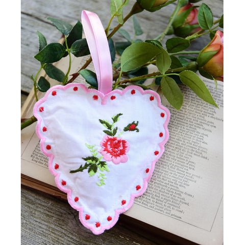 Rose Embroidered Lavender Heart Sachet-Sachet-PC-Powell Craft Uk-Putti Fine Furnishings