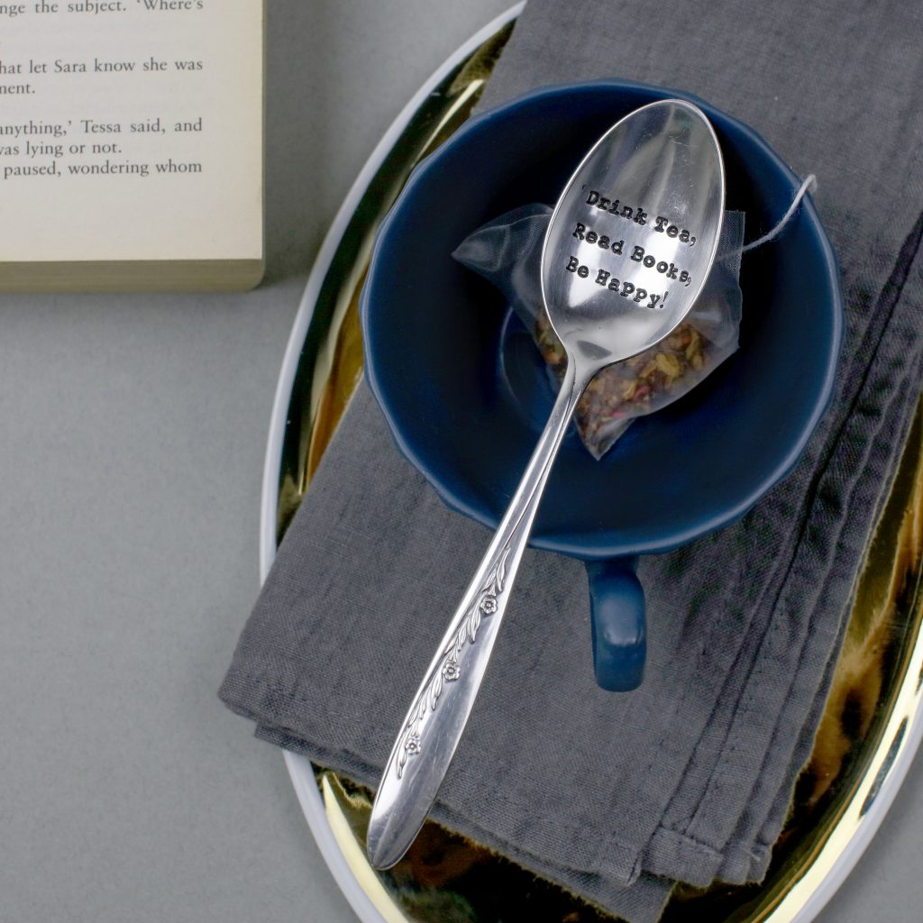 """Drink Tea ...Read Books...Be Happy!"" Vintage Tea Spoon"