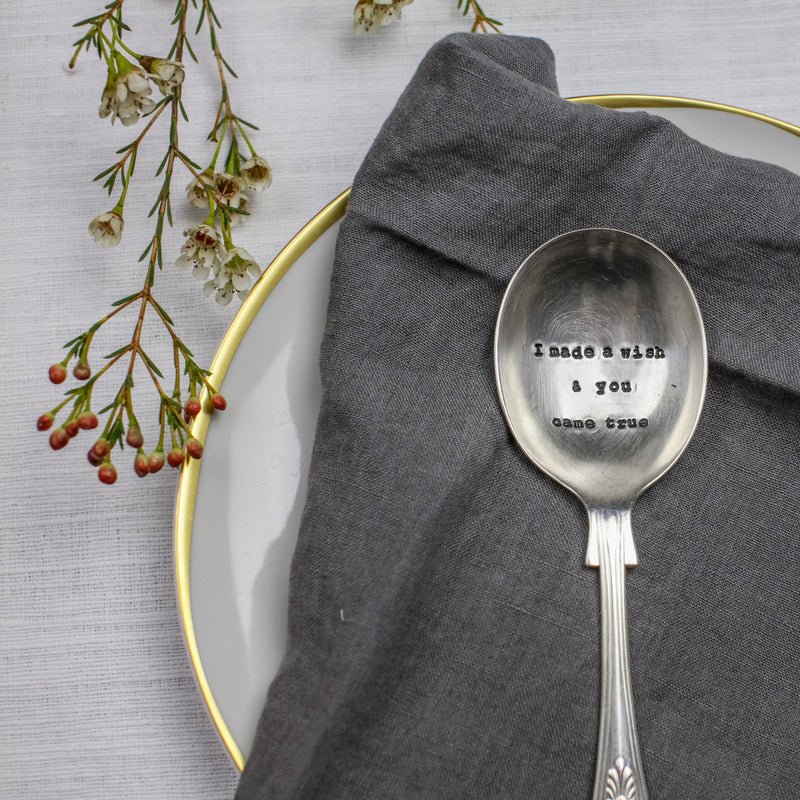 """I made a wish and you came true"" Vintage Dessert/Cereal Spoon, LDD-La De Da Living, Putti Fine Furnishings"