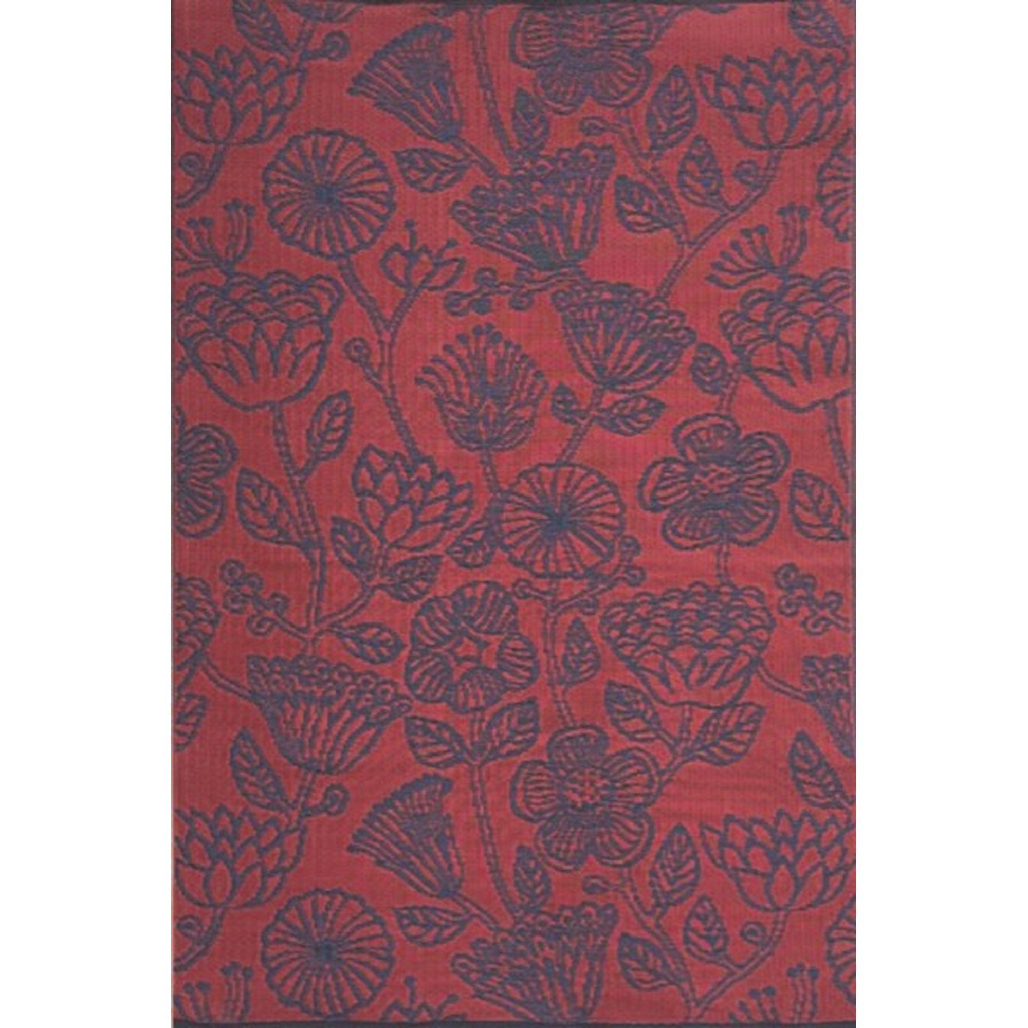 Mad Mats Outdoor Carpet Line Flower Red Indigo - Putti Fine Furnishings Canada