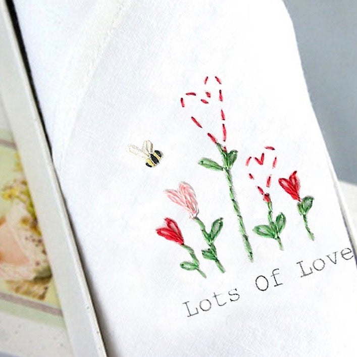 "Tamielle ""Lots of Love"" Embroidered Hanki 