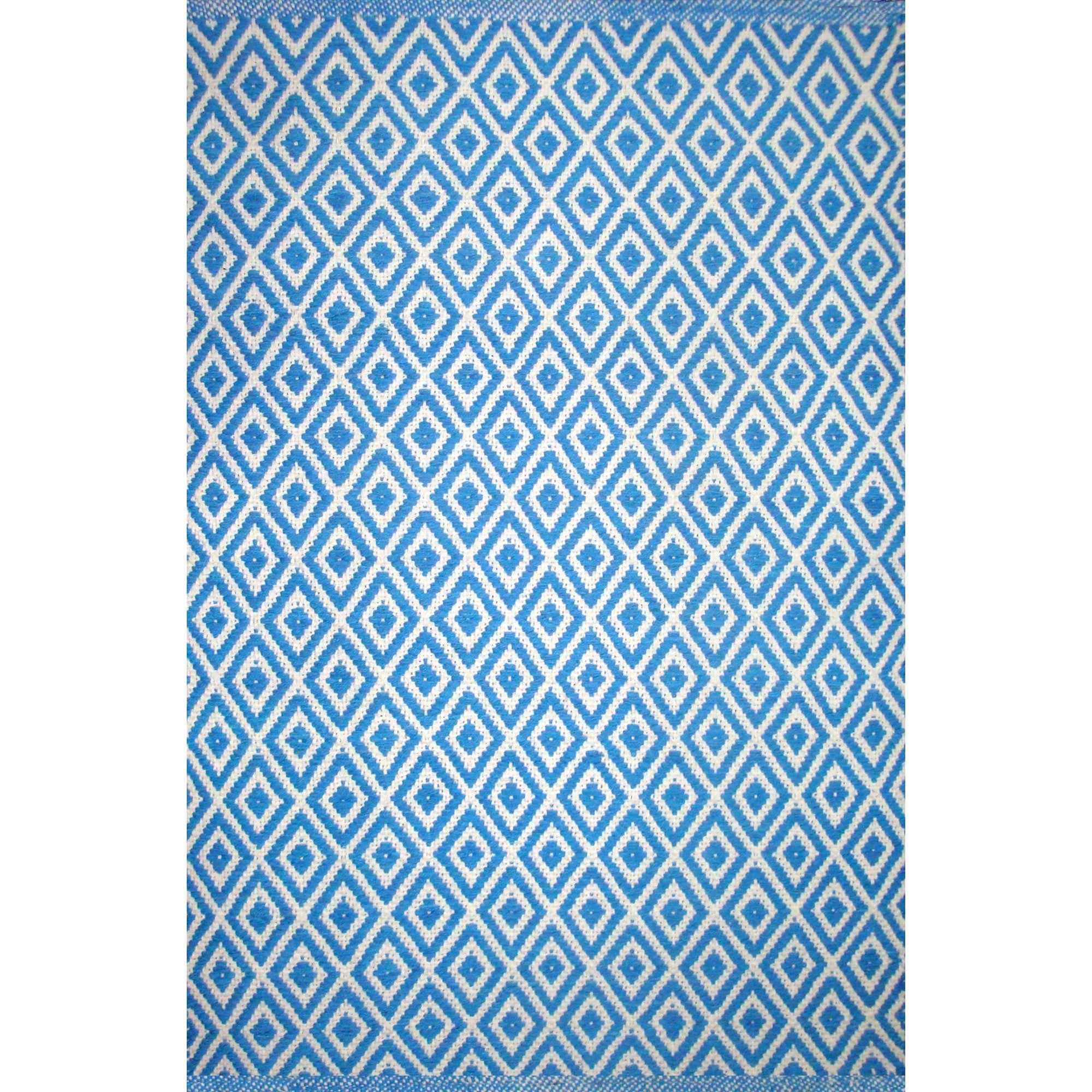 Lozenge Blue Dhurrie Rug | Putti Fine Furnishings