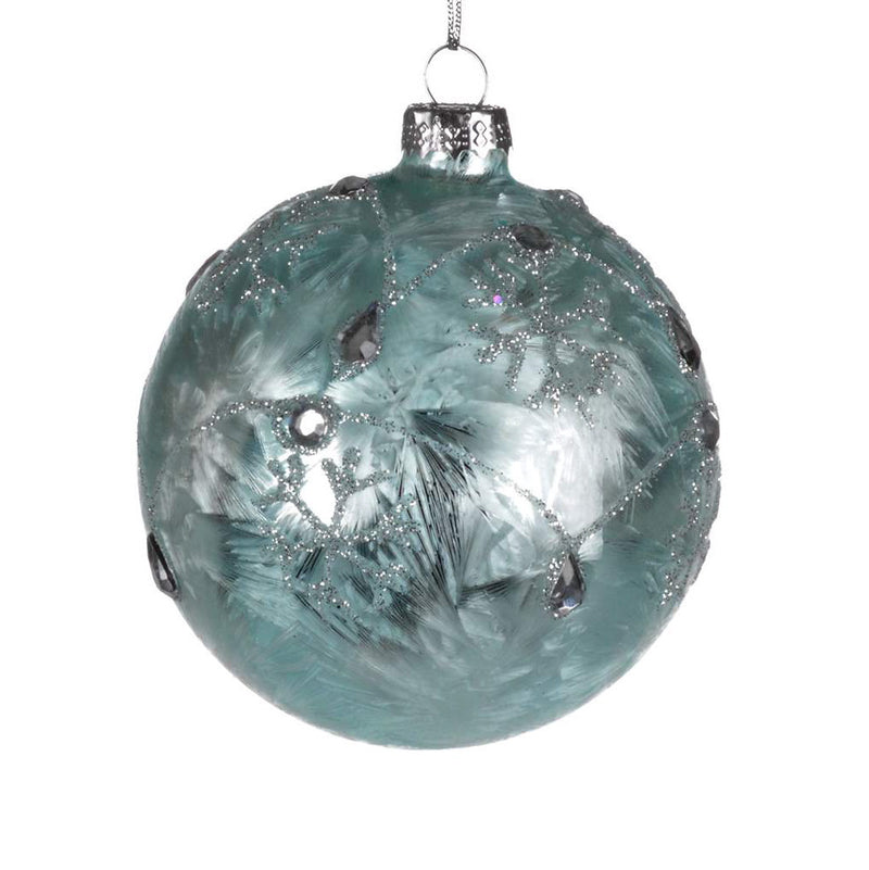 Ice Blue Glass Ornament with Snowflake, CT-Christmas Tradition, Putti Fine Furnishings