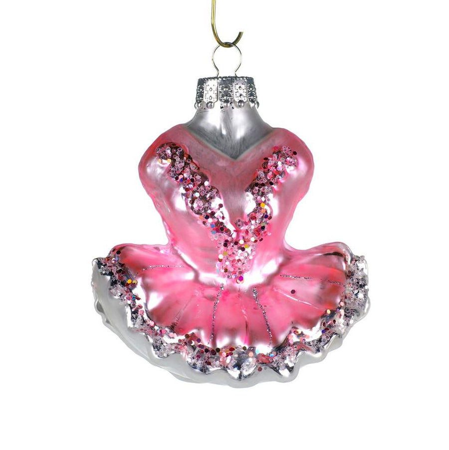 Pink Ballet Dress Glass Ornament, CT-Christmas Tradition, Putti Fine Furnishings
