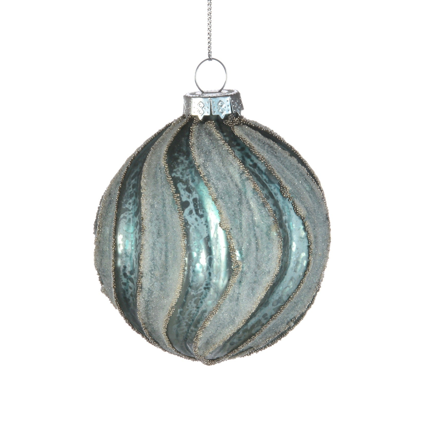 Aqua Frosted and Matte Swirl Glass Ball Christmas Ornament | Putti